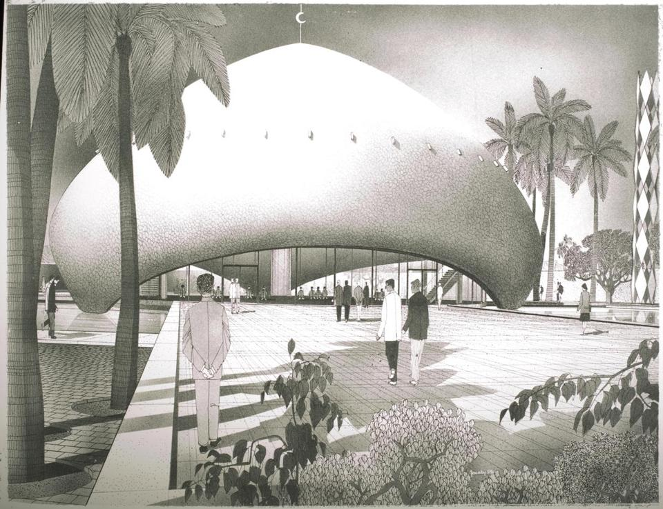 a rendering of a futuristic mushroom-shaped mosque